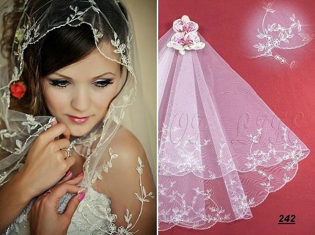 Свадебная фата цветная